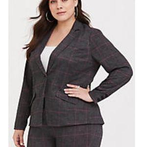 Torrid Grey plaid double knit Blazer jacket size 3